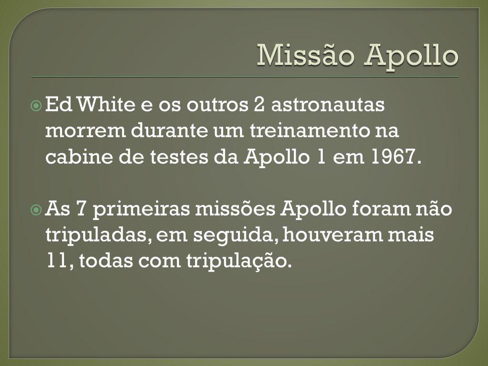 Ed White e os outros 2 astronautas morrem durante um treinamento na cabine de testes da Apollo 1 em 1967. As 7 primeiras missões Apollo foram não trip