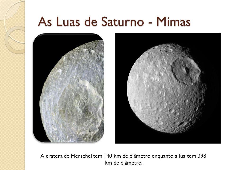 As Luas de Saturno - Mimas A cratera de Herschel tem 140 km de diâmetro enquanto a lua tem 398 km de diâmetro.