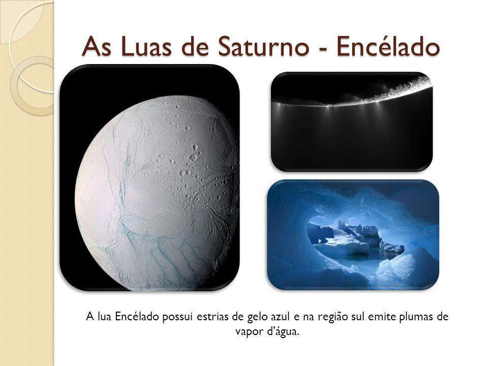 As Luas de Saturno - Encélado A lua Encélado possui estrias de gelo azul e na região sul emite plumas de vapor dágua.