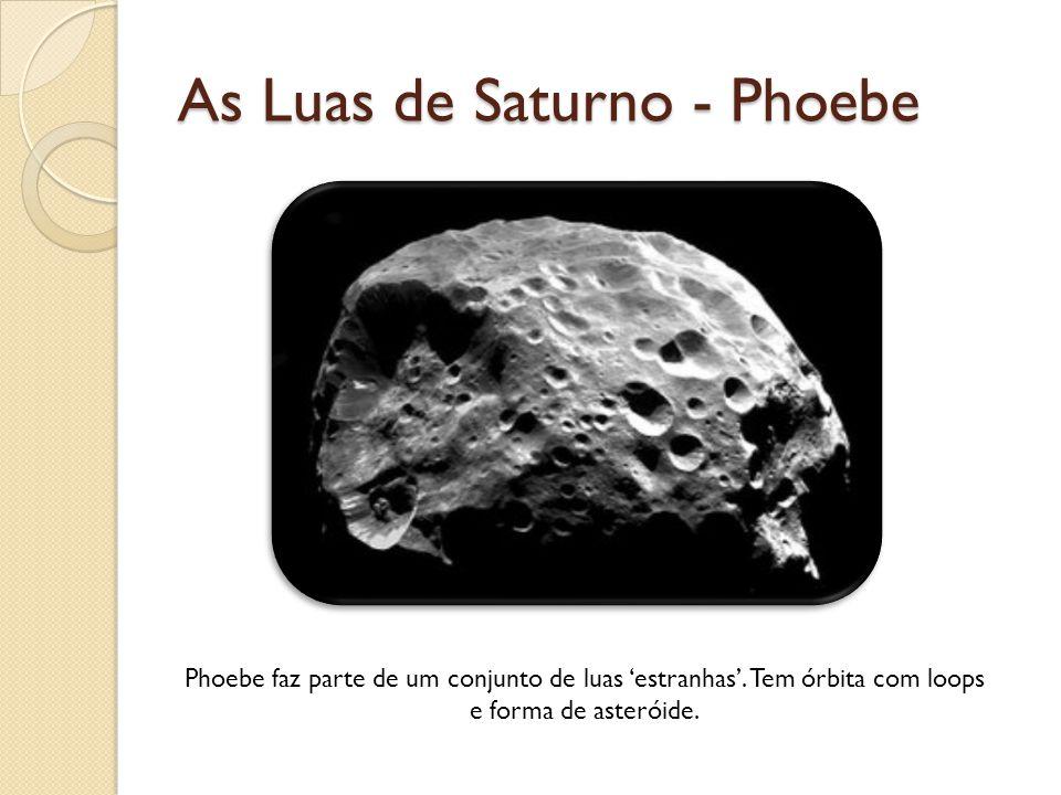 As Luas de Saturno - Phoebe Phoebe faz parte de um conjunto de luas estranhas. Tem órbita com loops e forma de asteróide.