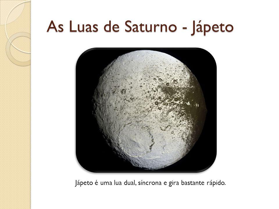 As Luas de Saturno - Jápeto Jápeto é uma lua dual, síncrona e gira bastante rápido.