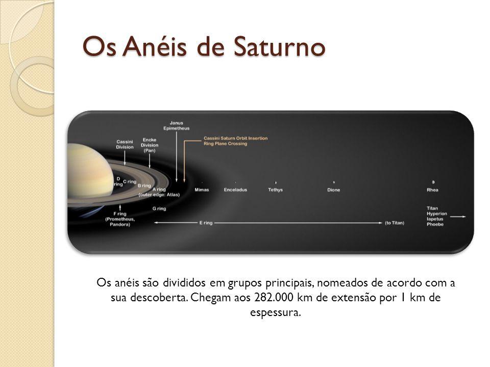 Os anéis são divididos em grupos principais, nomeados de acordo com a sua descoberta. Chegam aos 282.000 km de extensão por 1 km de espessura.