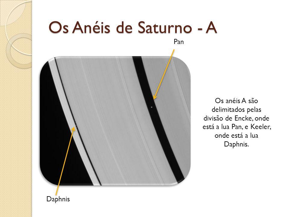 Os Anéis de Saturno - A Pan Daphnis Os anéis A são delimitados pelas divisão de Encke, onde está a lua Pan, e Keeler, onde está a lua Daphnis.