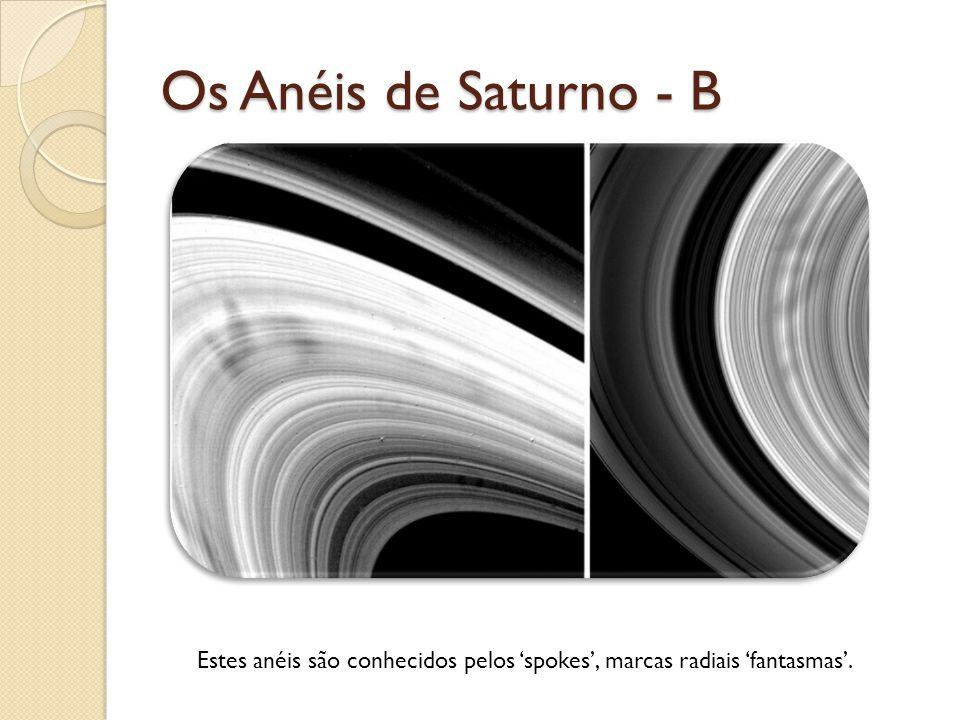 Os Anéis de Saturno - B Estes anéis são conhecidos pelos spokes, marcas radiais fantasmas.