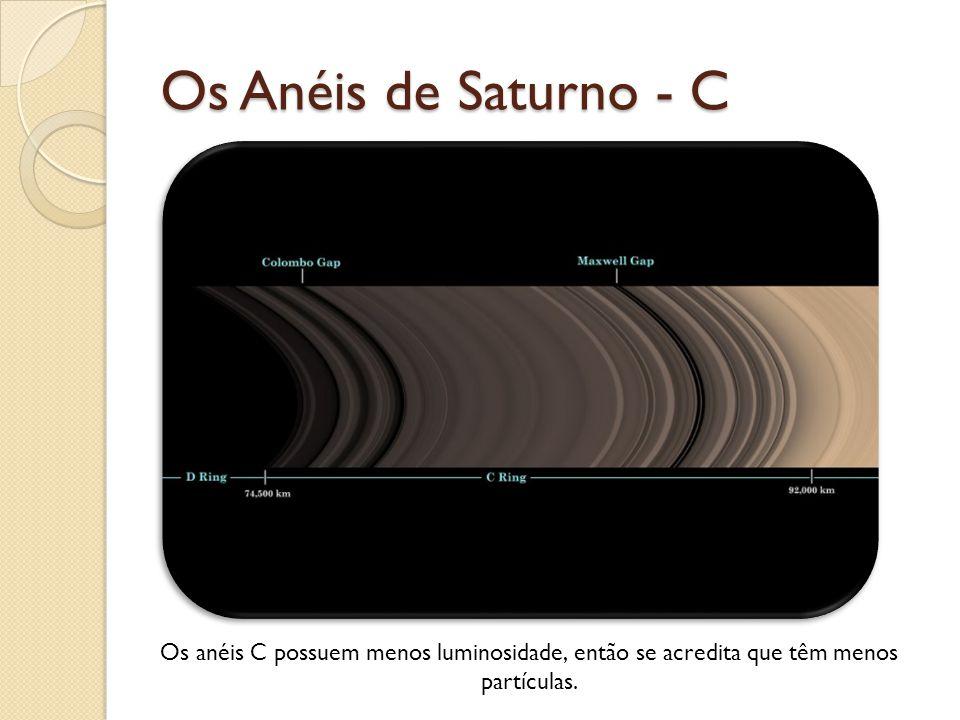 Os Anéis de Saturno - C Os anéis C possuem menos luminosidade, então se acredita que têm menos partículas.