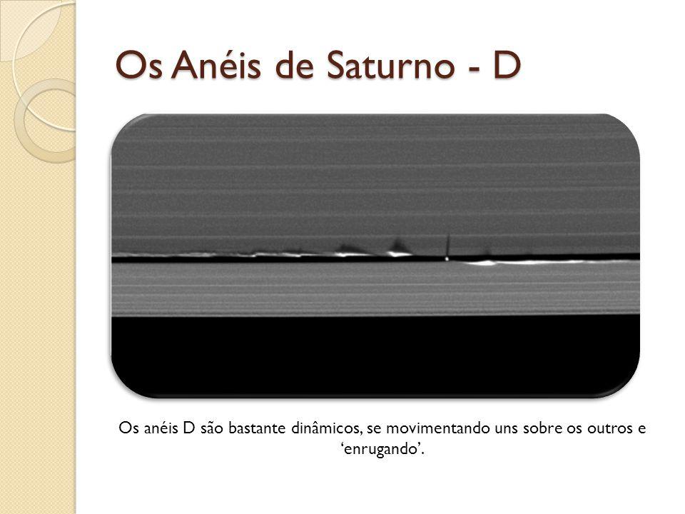 Os Anéis de Saturno - D Os anéis D são bastante dinâmicos, se movimentando uns sobre os outros e enrugando.