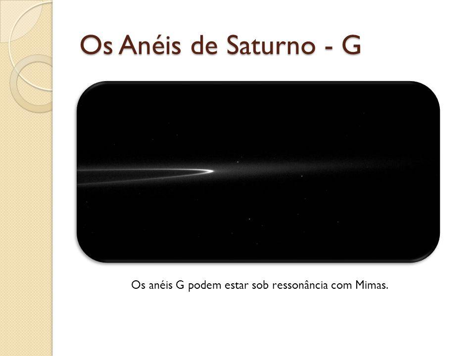 Os Anéis de Saturno - G Os anéis G podem estar sob ressonância com Mimas.