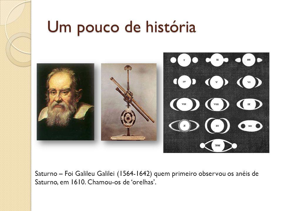 Um pouco de história Saturno – Foi Galileu Galilei (1564-1642) quem primeiro observou os anéis de Saturno, em 1610. Chamou-os de orelhas.
