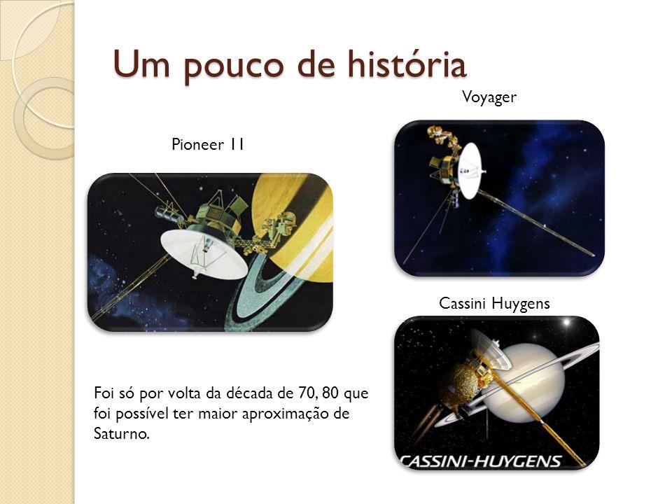 Um pouco de história Foi só por volta da década de 70, 80 que foi possível ter maior aproximação de Saturno. Pioneer 11 Voyager Cassini Huygens