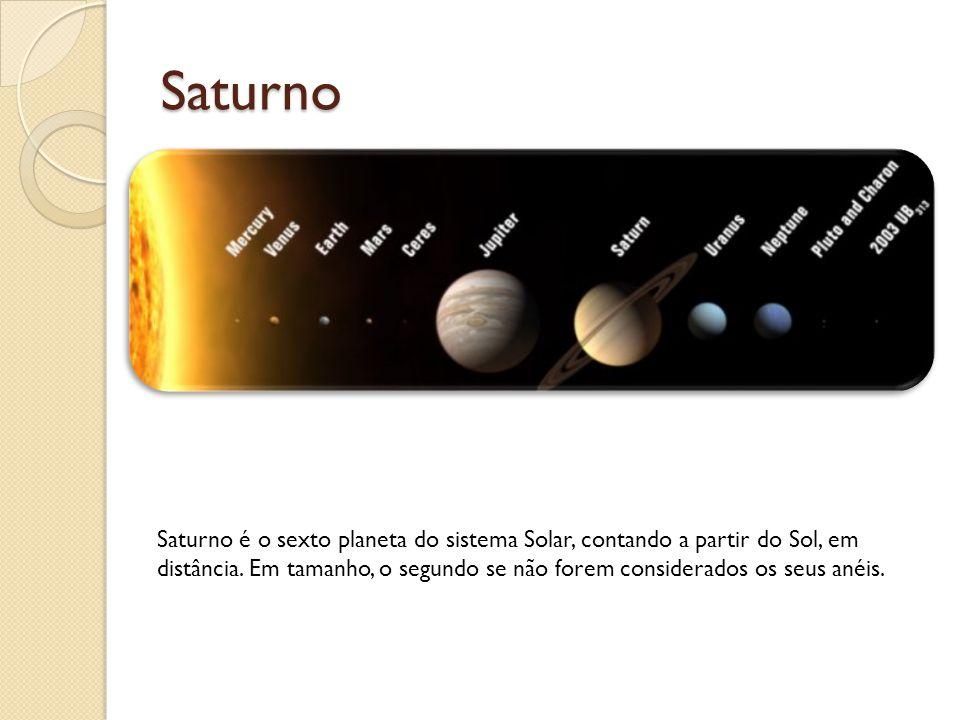 Saturno Saturno é o sexto planeta do sistema Solar, contando a partir do Sol, em distância. Em tamanho, o segundo se não forem considerados os seus an