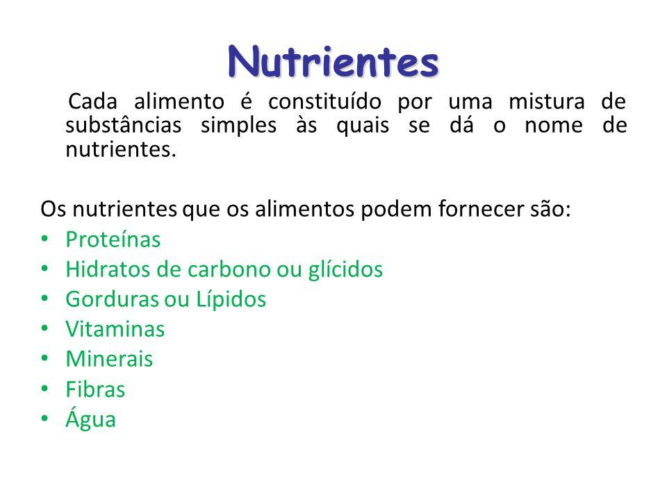 Nutrientes Cada alimento é constituído por uma mistura de substâncias simples às quais se dá o nome de nutrientes.