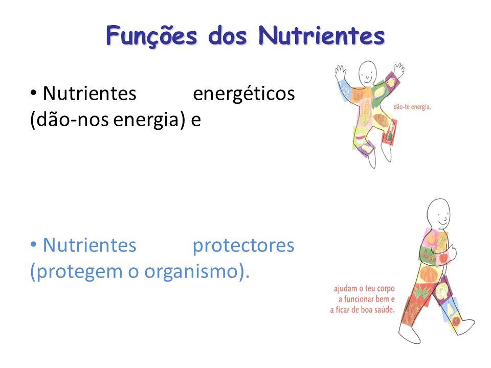 Funções dos Nutrientes Nutrientes energéticos (dão-nos energia) e Nutrientes protectores (protegem o organismo).