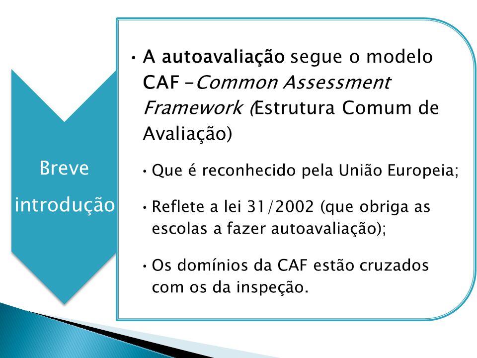 Breve introdução A autoavaliação segue o modelo CAF -Common Assessment Framework (Estrutura Comum de Avaliação) Que é reconhecido pela União Europeia;