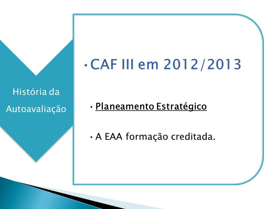 História da Autoavaliação CAF III em 2012/2013 Planeamento Estratégico A EAA formação creditada.