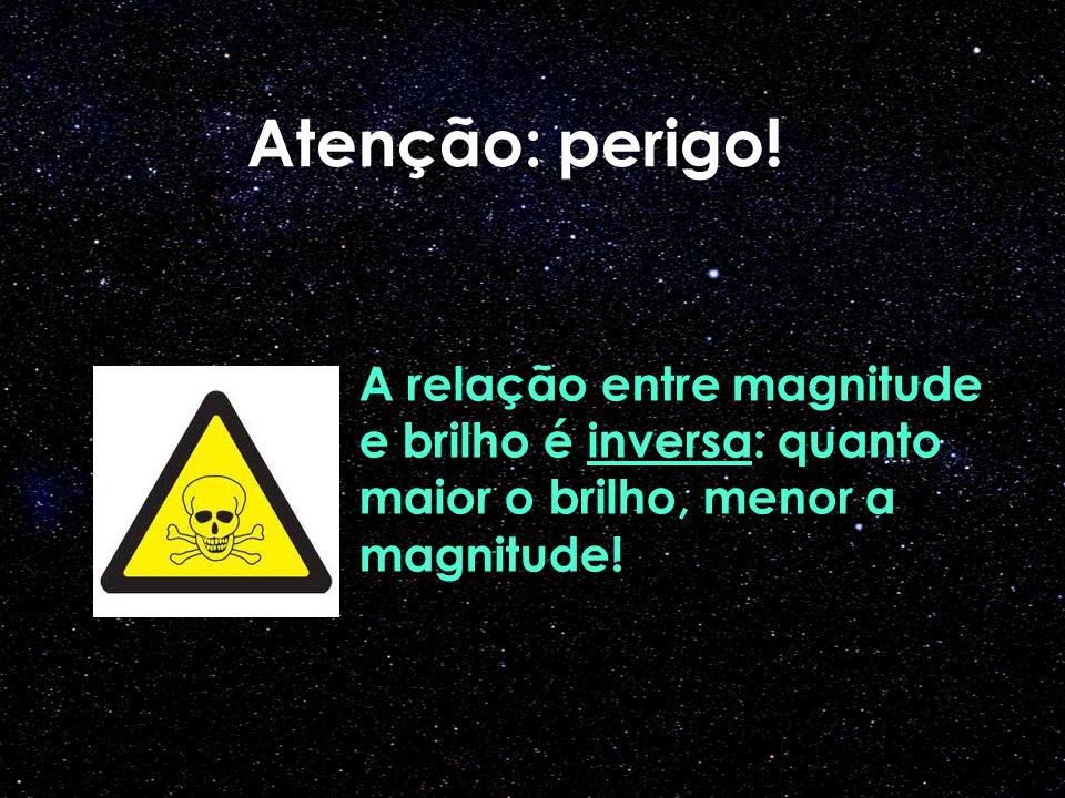 Atenção: perigo! A relação entre magnitude e brilho é inversa: quanto maior o brilho, menor a magnitude!
