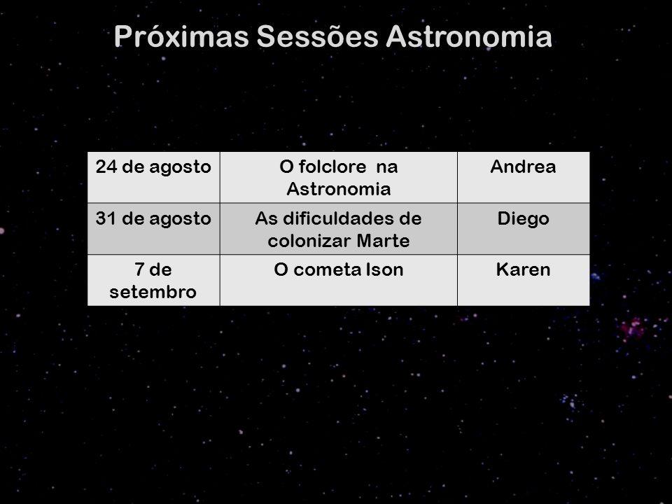 24 de agostoO folclore na Astronomia Andrea 31 de agostoAs dificuldades de colonizar Marte Diego 7 de setembro O cometa IsonKaren Próximas Sessões Astronomia