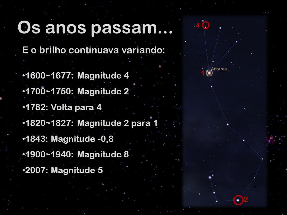 Os anos passam... E o brilho continuava variando: 1600~1677: Magnitude 4 1700~1750: Magnitude 2 1782: Volta para 4 1820~1827: Magnitude 2 para 1 1843: