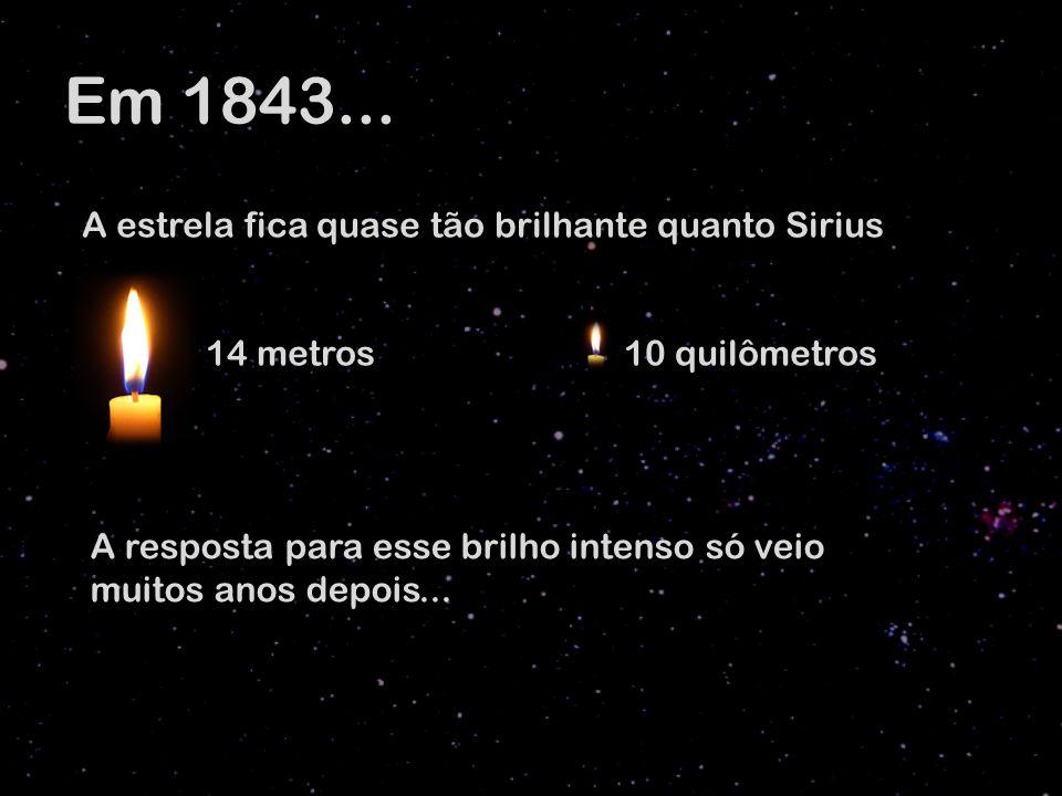 Em 1843... A estrela fica quase tão brilhante quanto Sirius 14 metros 10 quilômetros A resposta para esse brilho intenso só veio muitos anos depois...