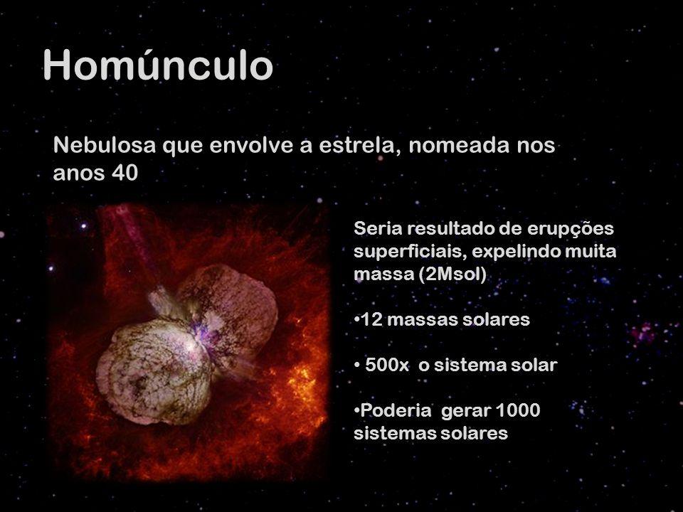Homúnculo Nebulosa que envolve a estrela, nomeada nos anos 40 Seria resultado de erupções superficiais, expelindo muita massa (2Msol) 12 massas solares 500x o sistema solar Poderia gerar 1000 sistemas solares
