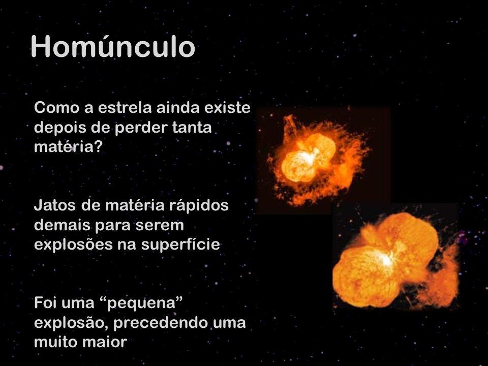 Homúnculo Como a estrela ainda existe depois de perder tanta matéria? Jatos de matéria rápidos demais para serem explosões na superfície Foi uma peque