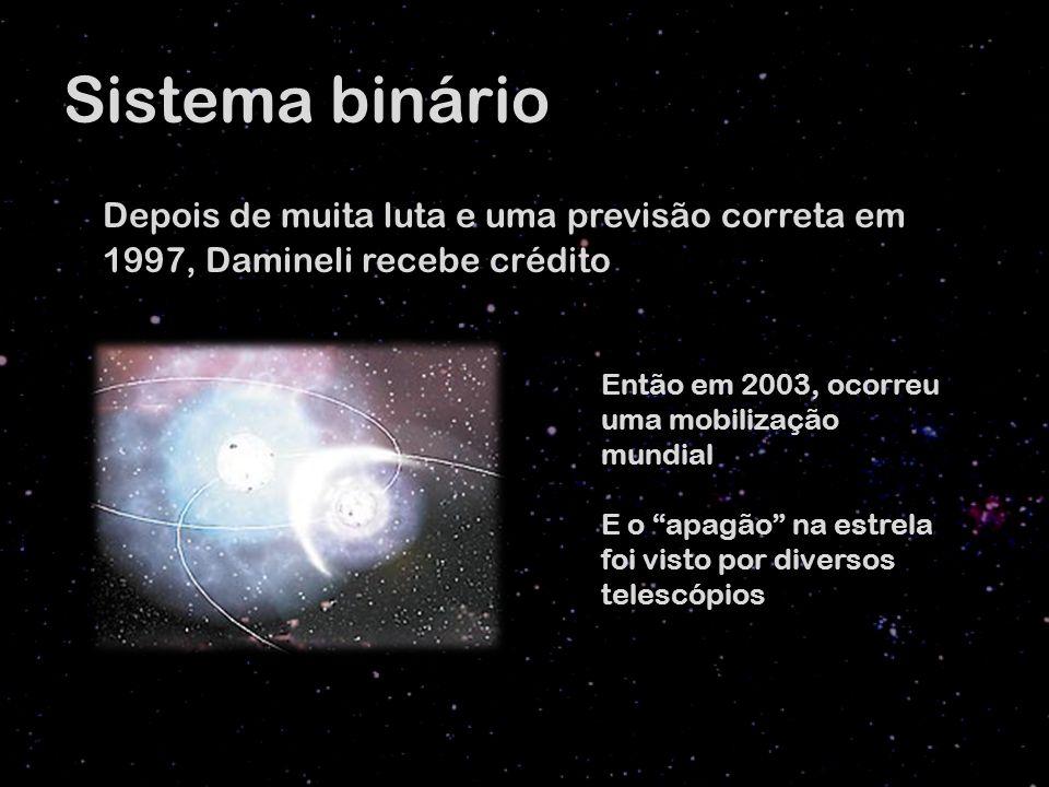 Sistema binário Depois de muita luta e uma previsão correta em 1997, Damineli recebe crédito Então em 2003, ocorreu uma mobilização mundial E o apagão