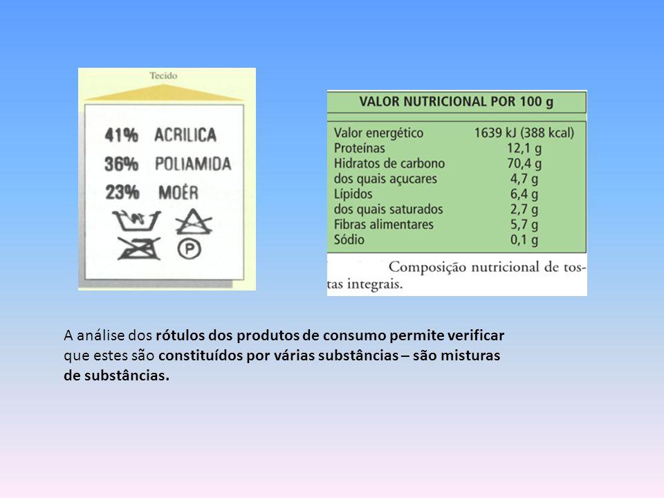 A análise dos rótulos dos produtos de consumo permite verificar que estes são constituídos por várias substâncias – são misturas de substâncias.