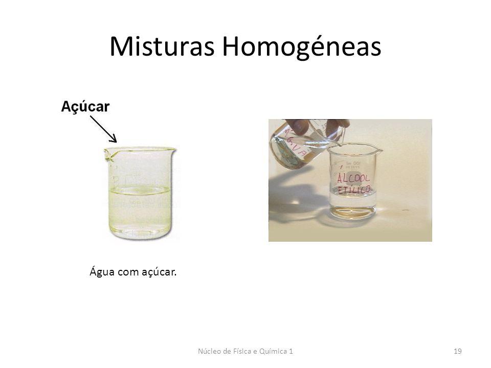 Misturas Homogéneas Núcleo de Física e Química 119 Água com açúcar.