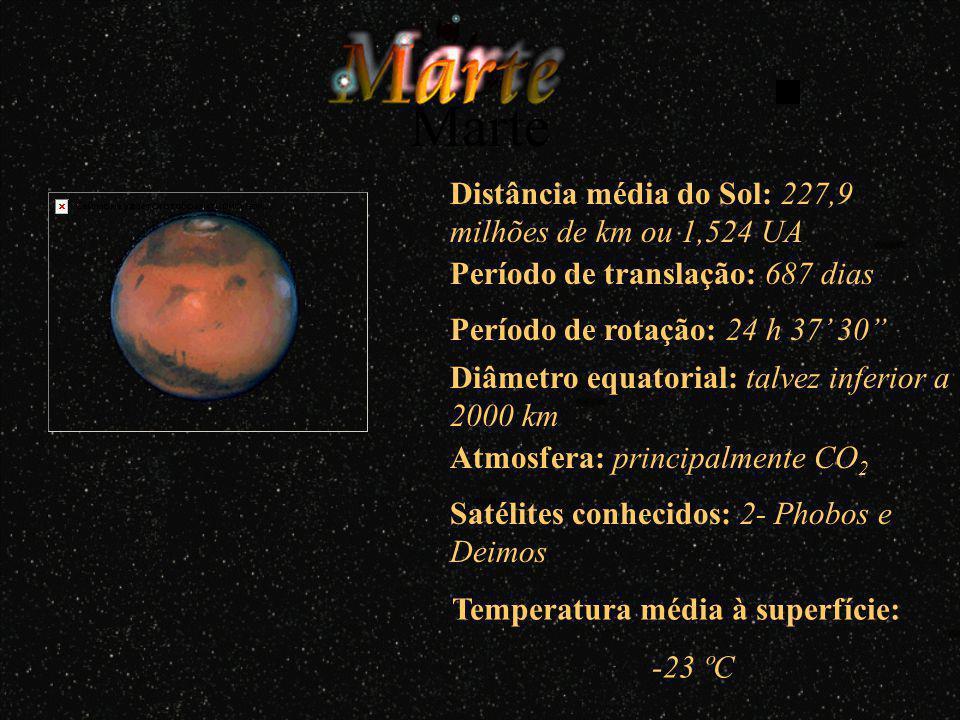 Período de translação: 365,26 dias Período de rotação: 23 h 56 4 Diâmetro equatorial: 12756 km Atmosfera: rica em azoto (N) e oxigénio (O) Diâmetro: 3476 km Distância da Terra: 384400 km Satélites conhecidos: 1- Lua Terra Distância média do Sol: 149,06 milhões de km ou 1 UA Temperatura média à superficie: -70 ºC a 55 ºC Atmosfera: não tem Temperatura média à superficie: -155 ºC a 105 ºC