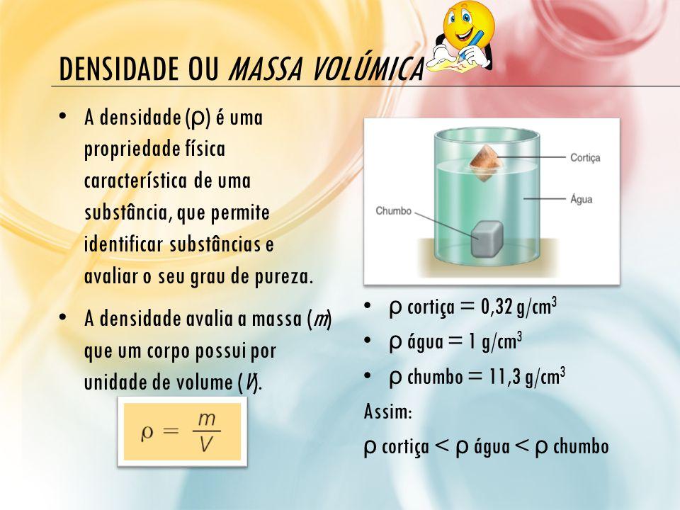 DENSIDADE OU MASSA VOLÚMICA A densidade ( ρ ) é uma propriedade física característica de uma substância, que permite identificar substâncias e avaliar