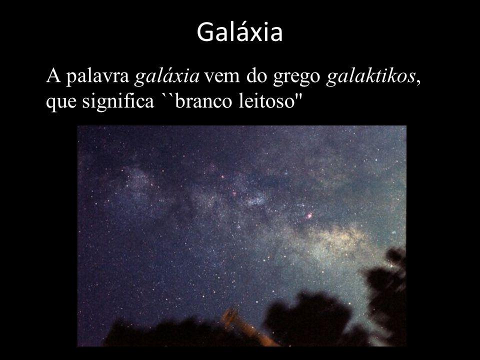 Galáxia A palavra galáxia vem do grego galaktikos, que significa ``branco leitoso''