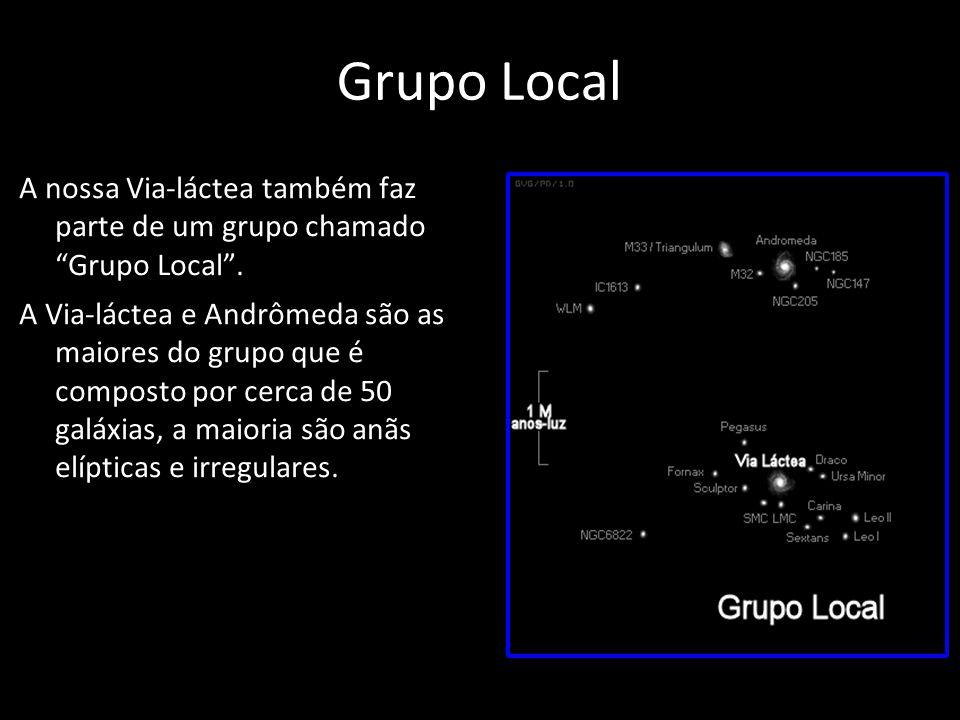 Grupo Local A nossa Via-láctea também faz parte de um grupo chamado Grupo Local. A Via-láctea e Andrômeda são as maiores do grupo que é composto por c