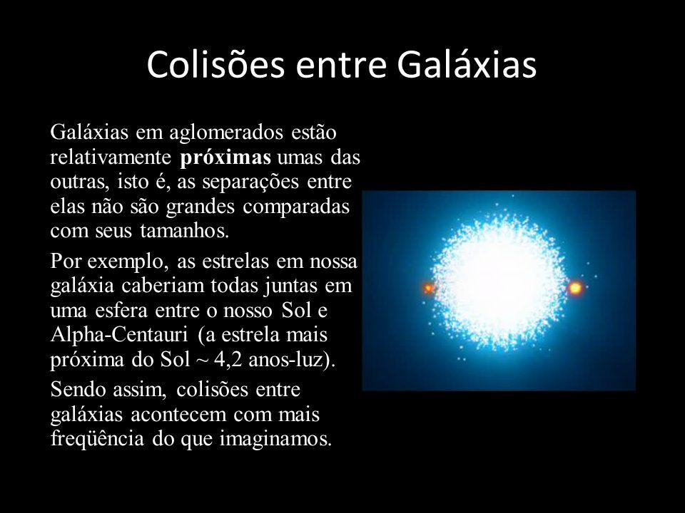Colisões entre Galáxias Galáxias em aglomerados estão relativamente próximas umas das outras, isto é, as separações entre elas não são grandes compara