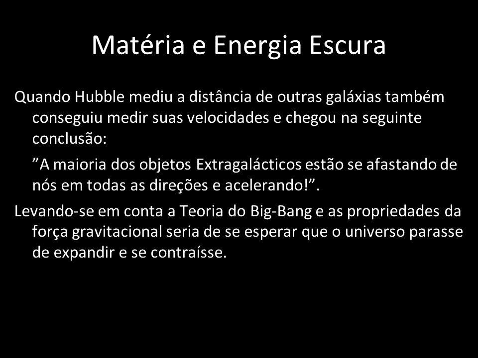 Matéria e Energia Escura Quando Hubble mediu a distância de outras galáxias também conseguiu medir suas velocidades e chegou na seguinte conclusão: A