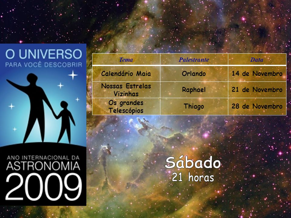 TemaPalestranteData Calendário MaiaOrlando14 de Novembro Nossas Estrelas Vizinhas Raphael21 de Novembro Os grandes Telescópios Thiago28 de Novembro