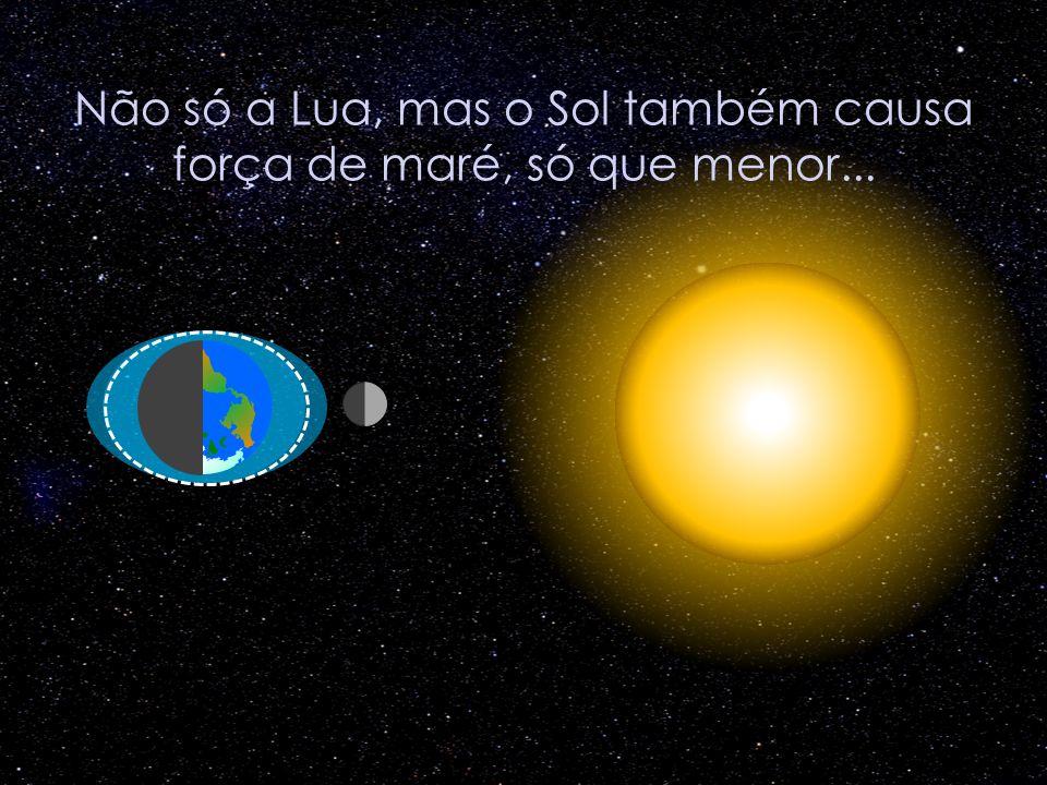 Não só a Lua, mas o Sol também causa força de maré, só que menor...