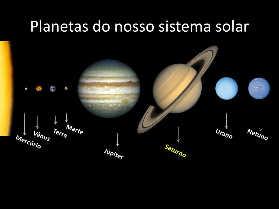 Planetas do nosso sistema solar Diâmetro da Terra: 12 742 km Diâmetro de Saturno: 116 464 Km Terra Saturno Proporção: 9,14 x Terra!