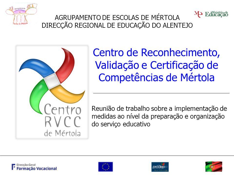 AGRUPAMENTO DE ESCOLAS DE MÉRTOLA DIRECÇÃO REGIONAL DE EDUCAÇÃO DO ALENTEJO Centro de Reconhecimento, Validação e Certificação de Competências de Mért