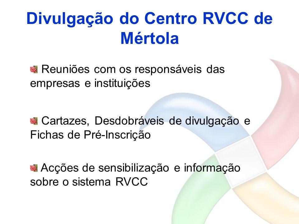 Divulgação do Centro RVCC de Mértola Reuniões com os responsáveis das empresas e instituições Cartazes, Desdobráveis de divulgação e Fichas de Pré-Ins