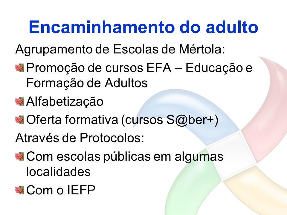 Encaminhamento do adulto Agrupamento de Escolas de Mértola: Promoção de cursos EFA – Educação e Formação de Adultos Alfabetização Oferta formativa (cu