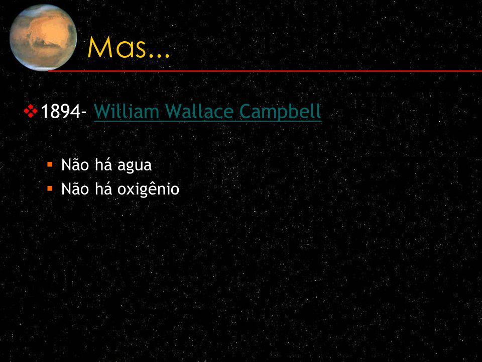Mas... 1894- William Wallace CampbellWilliam Wallace Campbell Não há agua Não há oxigênio
