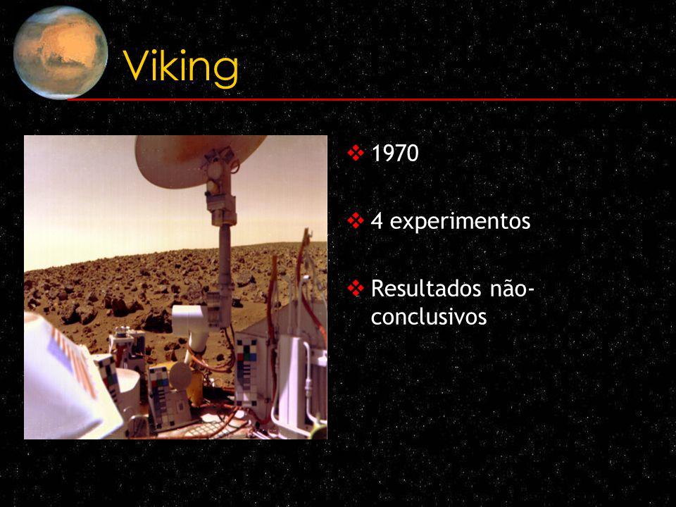 Viking 1970 4 experimentos Resultados não- conclusivos