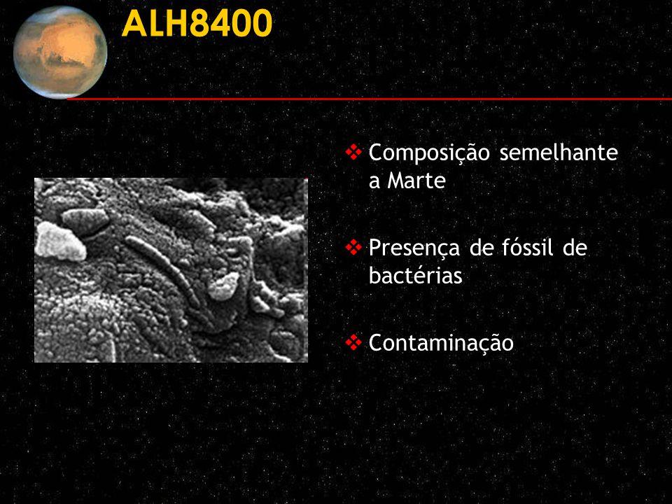 ALH8400 Composição semelhante a Marte Presença de fóssil de bactérias Contaminação