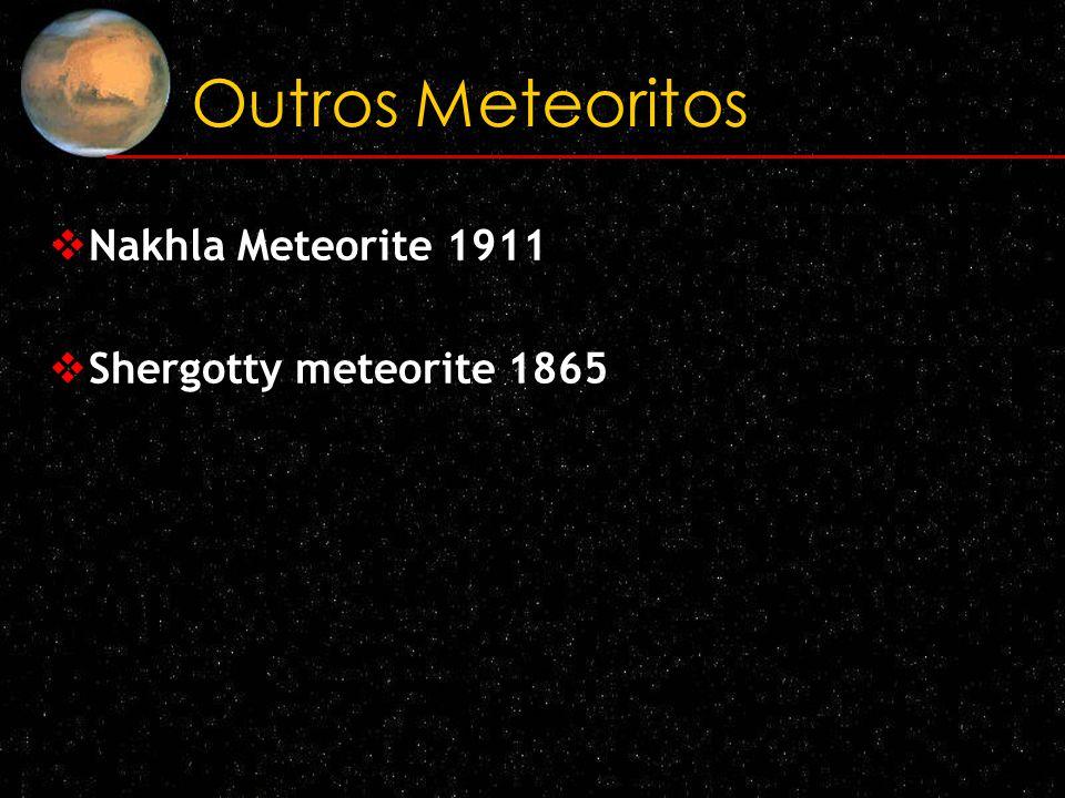 Outros Meteoritos Nakhla Meteorite 1911 Shergotty meteorite 1865
