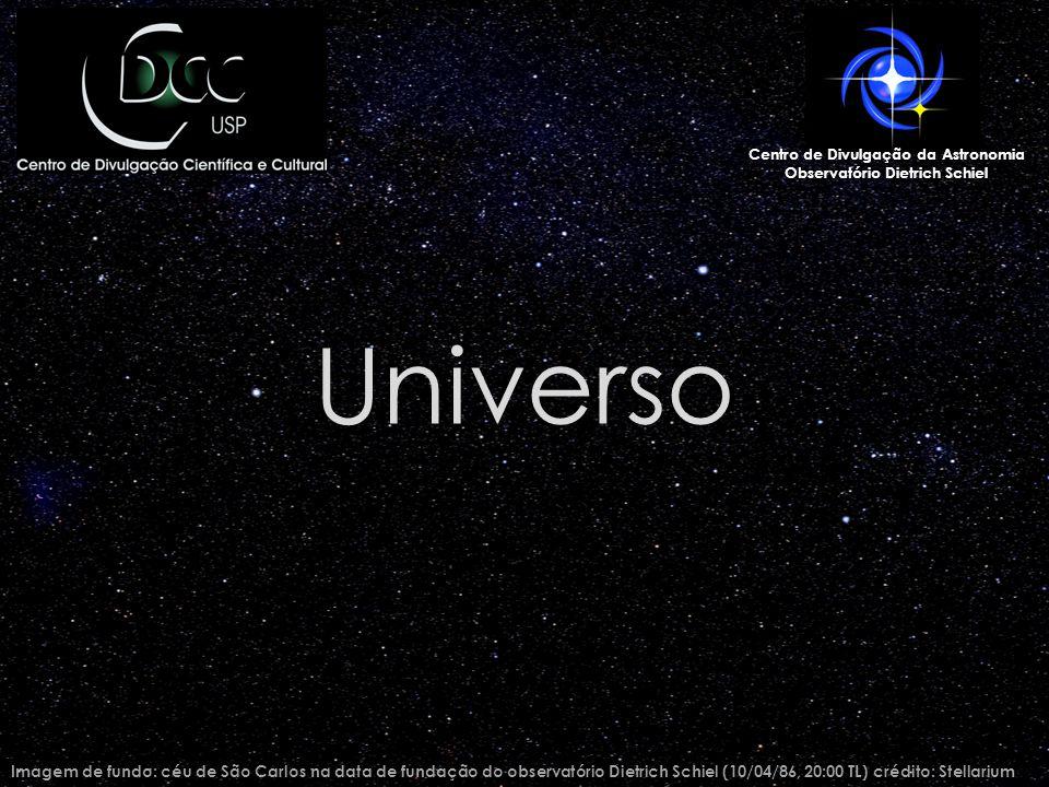 Universo Imagem de fundo: céu de São Carlos na data de fundação do observatório Dietrich Schiel (10/04/86, 20:00 TL) crédito: Stellarium Centro de Divulgação da Astronomia Observatório Dietrich Schiel