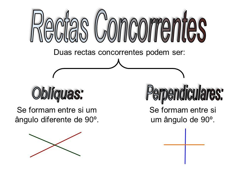 Se formam entre si um ângulo diferente de 90º. Duas rectas concorrentes podem ser: Se formam entre si um ângulo de 90º.