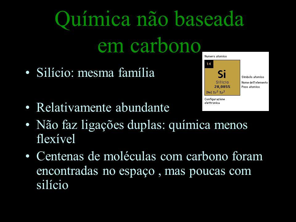 Química não baseada em carbono Silício: mesma família Relativamente abundante Não faz ligações duplas: química menos flexível Centenas de moléculas com carbono foram encontradas no espaço, mas poucas com silício