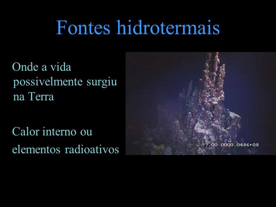 Fontes hidrotermais Onde a vida possivelmente surgiu na Terra Calor interno ou elementos radioativos