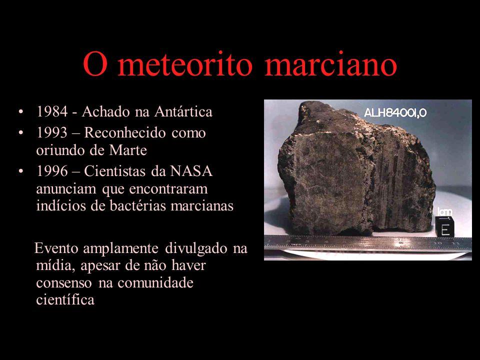 O meteorito marciano 1984 - Achado na Antártica 1993 – Reconhecido como oriundo de Marte 1996 – Cientistas da NASA anunciam que encontraram indícios de bactérias marcianas Evento amplamente divulgado na mídia, apesar de não haver consenso na comunidade científica
