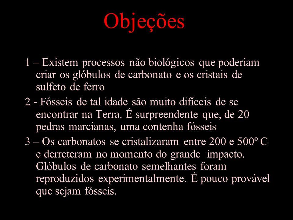 Objeções 1 – Existem processos não biológicos que poderiam criar os glóbulos de carbonato e os cristais de sulfeto de ferro 2 - Fósseis de tal idade são muito difíceis de se encontrar na Terra.