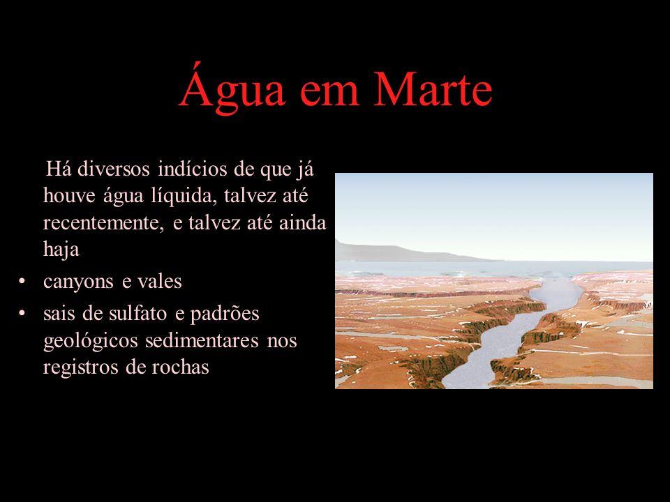 Água em Marte Há diversos indícios de que já houve água líquida, talvez até recentemente, e talvez até ainda haja canyons e vales sais de sulfato e padrões geológicos sedimentares nos registros de rochas